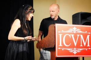 Cheryl Wicker politely inquires about Kevin Miller's wardrobe choice for 2011 ICVM Crown Awards